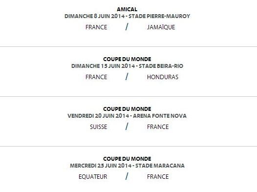 Calendrier matchs France coupe du monde